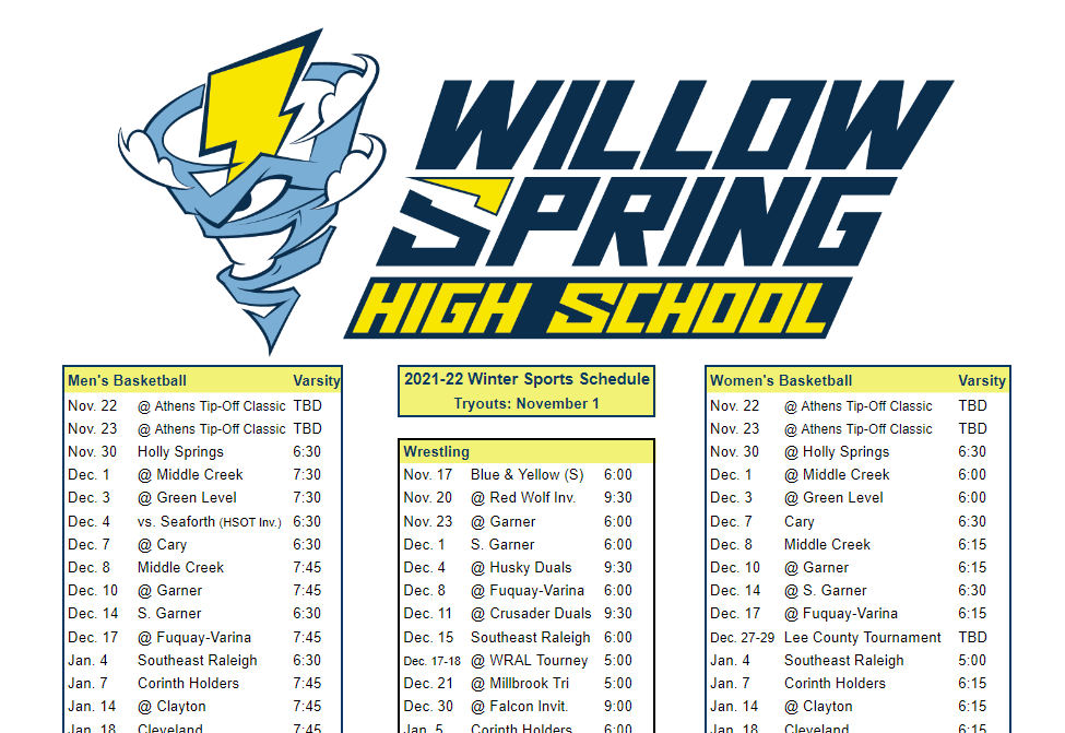 Willow Spring Winter Sports at a Glance
